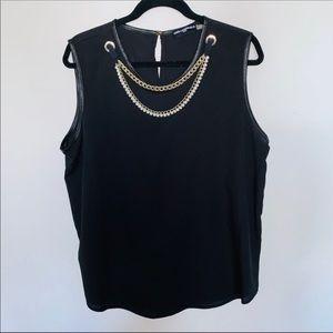Karl Lagerfeld Paris Black Blouse Park Necklace